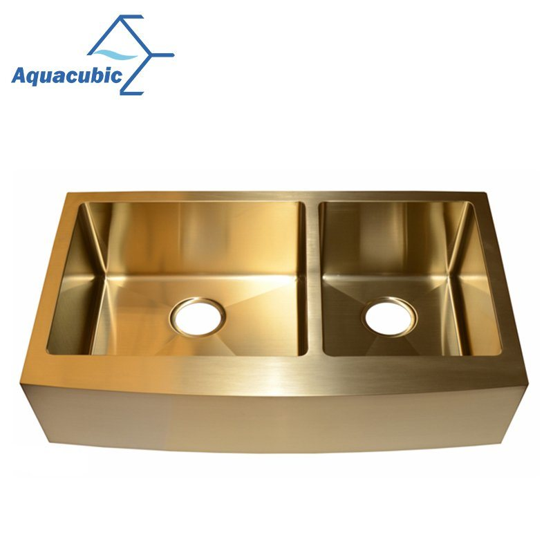 China Gold Color Double Bowl Stainless Steel Handmade