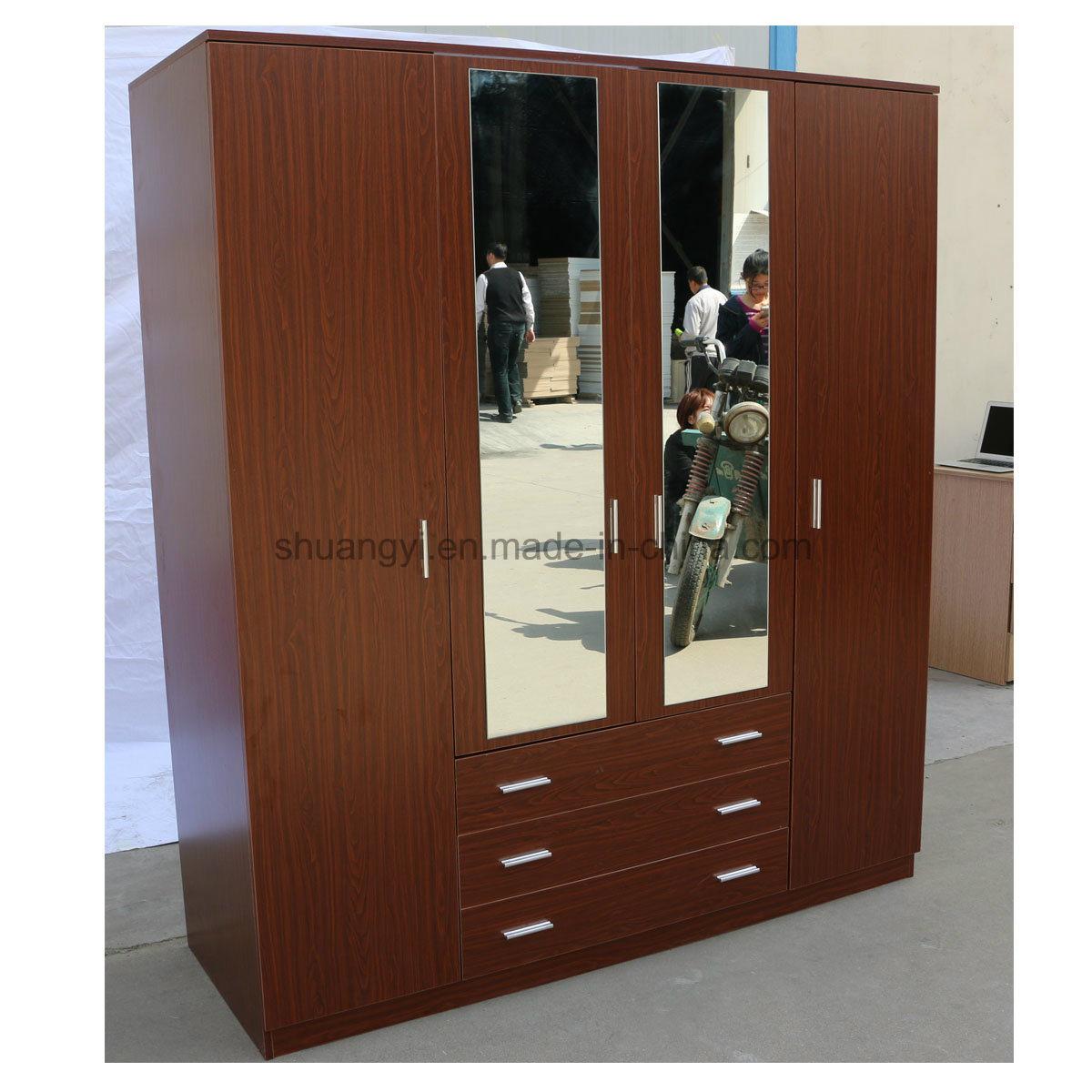China 3 Door Bedroom Wardrobe Design Mirror Door Photos Pictures