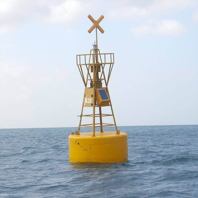 Hot Item Yellow Cross Special Mark Equipped Marine Floating Marker Lighted Navigation Buoy For Sale