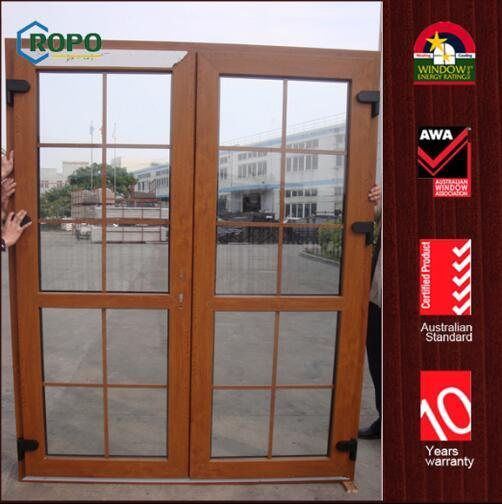 China Golden Oak Color Upvc Double Glass Doors Restaurant French