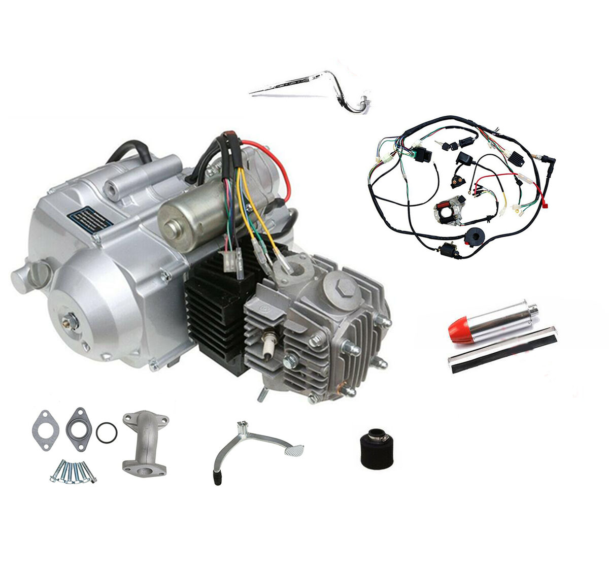 [Hot Item] 125cc Engine Kits Air Cooled 4 Stroke Engine Wiring Harness 3  Speed Reverse for ATV Quad Go Kart