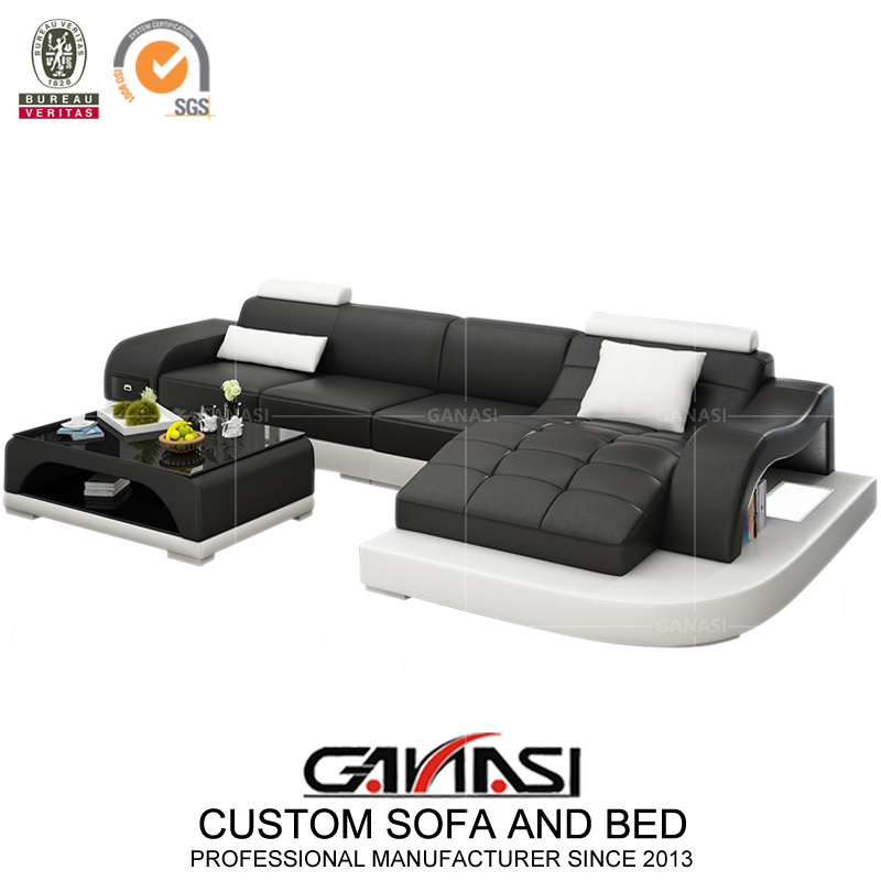 [Hot Item] Wholesale Modern Leather Sofa Lounge with Chaise (G8009D)