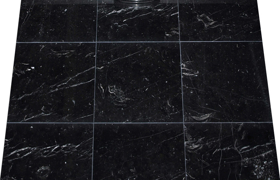 China Nero Marquina 40X40 Floor Tiles Black Marble Black
