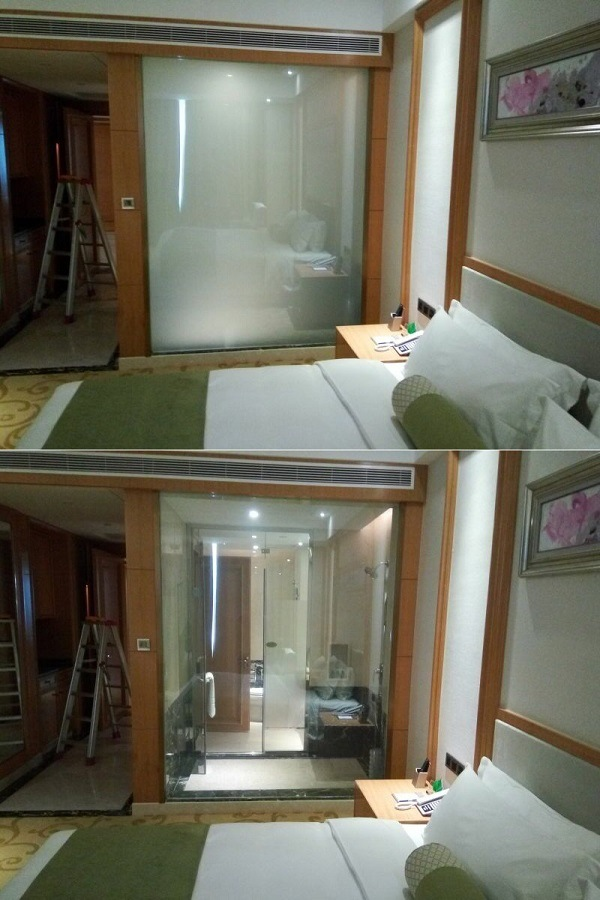 China Privacy Glass Shower Door Smart Switchable Glass Intelligent