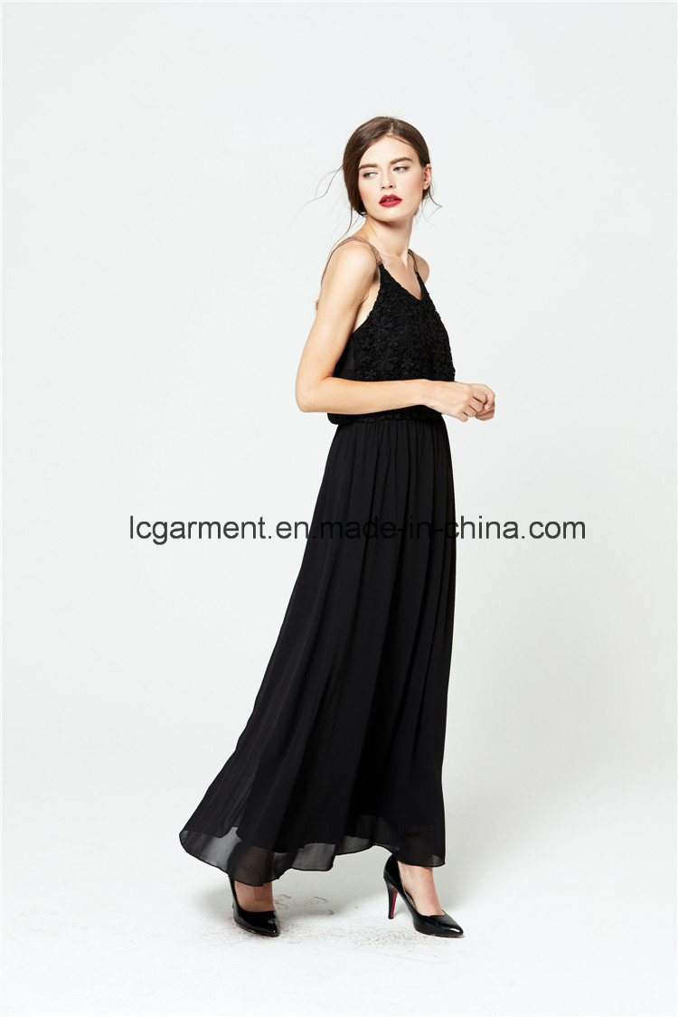 Wholesale Woman Dress Spaghetti Strap Maxi Chiffon Backless Sexy Dress