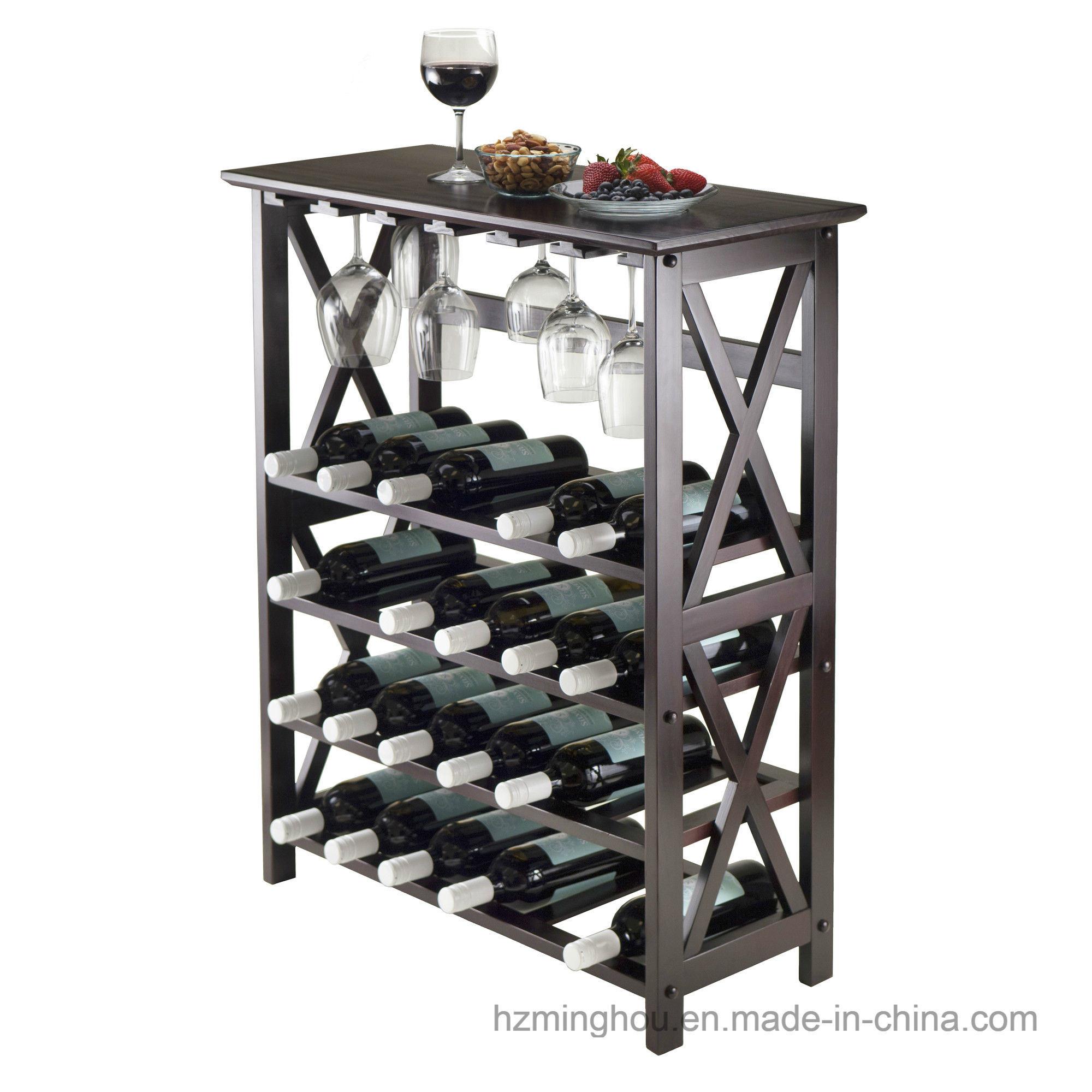 Basics Wood 24 Bottle Floor Wine Rack