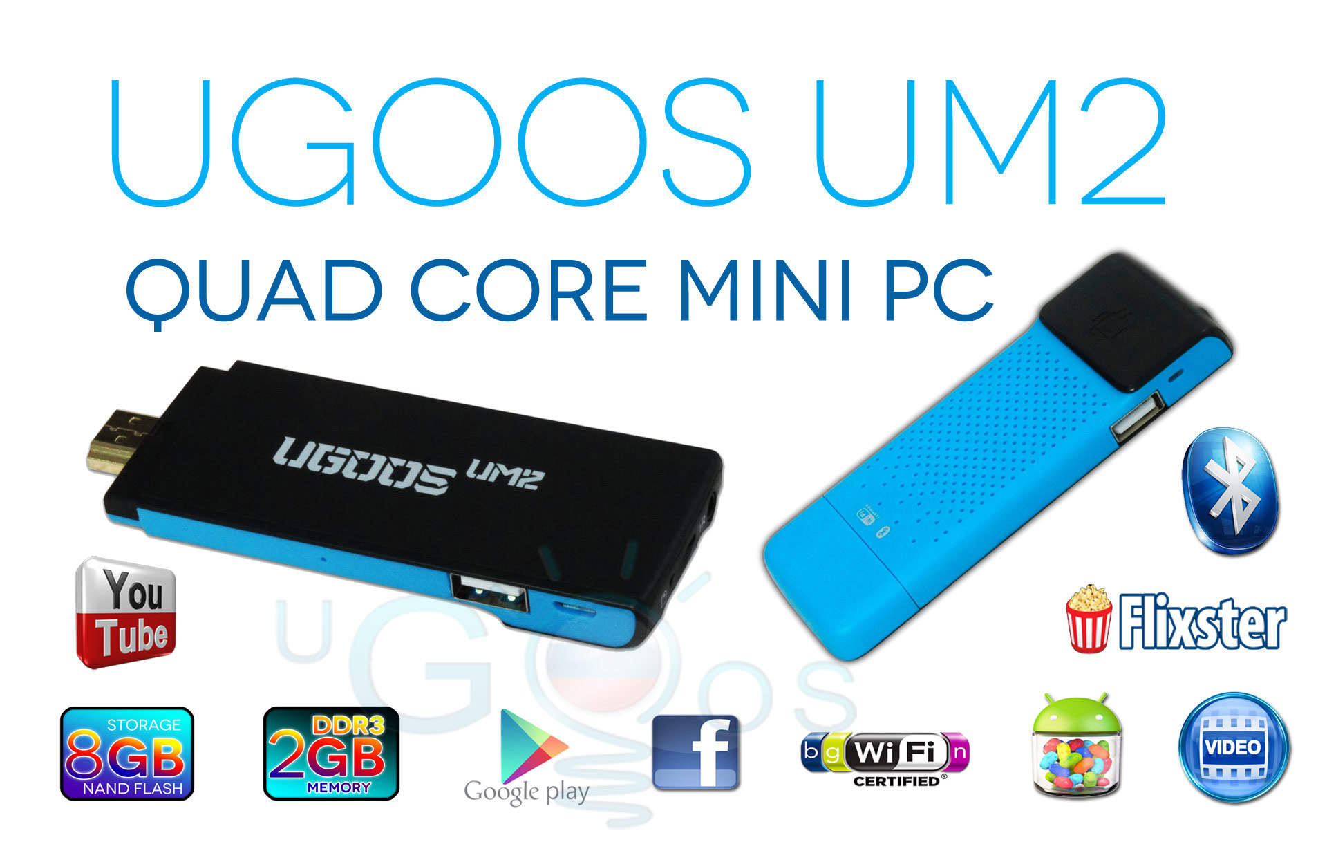 [Hot Item] Ugoos Um2 Quad Core Rk3188 Android 4 4 TV Dongle with HDMI,  Bluetooth, WiFi, 2GB RAM, 8GB ROM