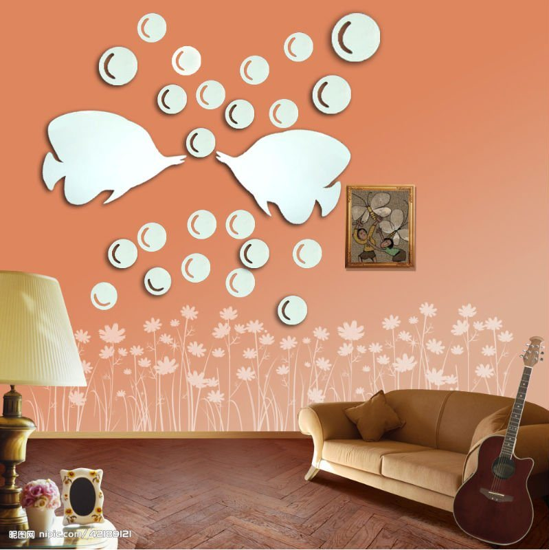 mirror wall decals 2017 - Grasscloth Wallpaper