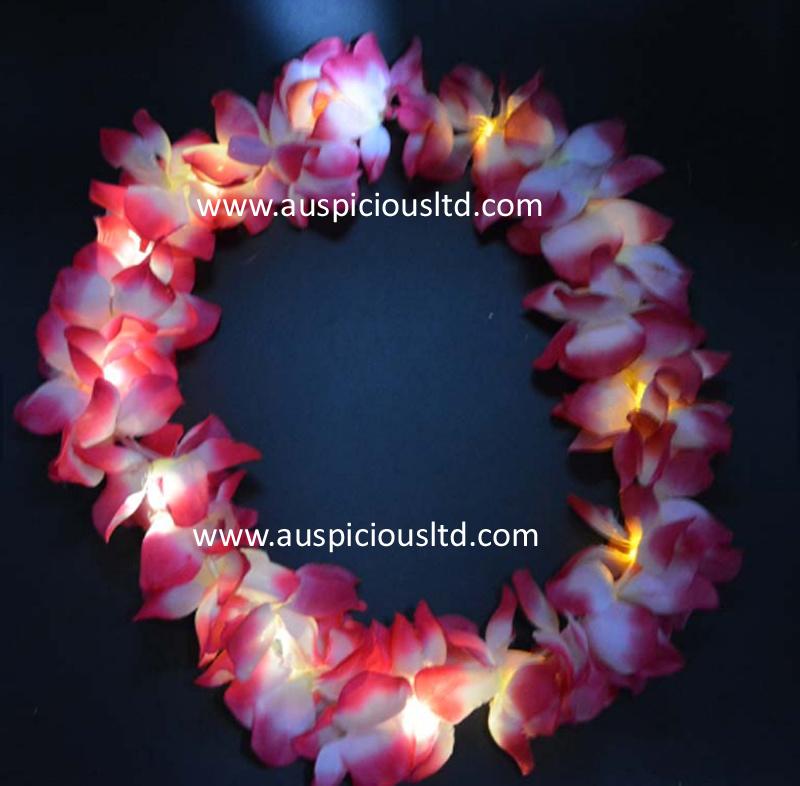 Light Up Hawaiian Lei Flowers Luau Hawaii Hula Necklace Wholesale