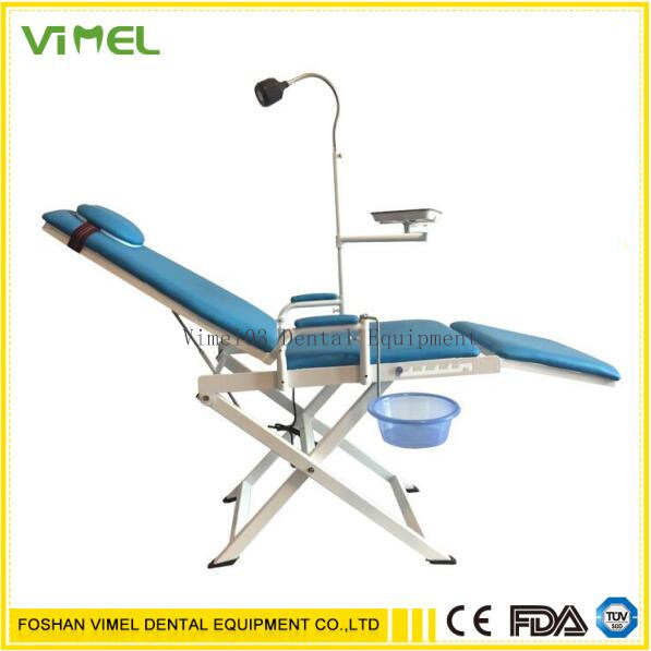 Dental Chair Unit Mobile Patient Chair with Operating Light Blue pictures & photos