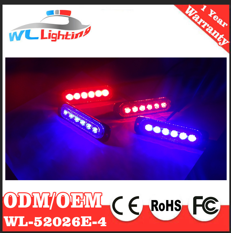 China 4x6 Blue Red Led Police Car Grill Lights Warning Light Emergency