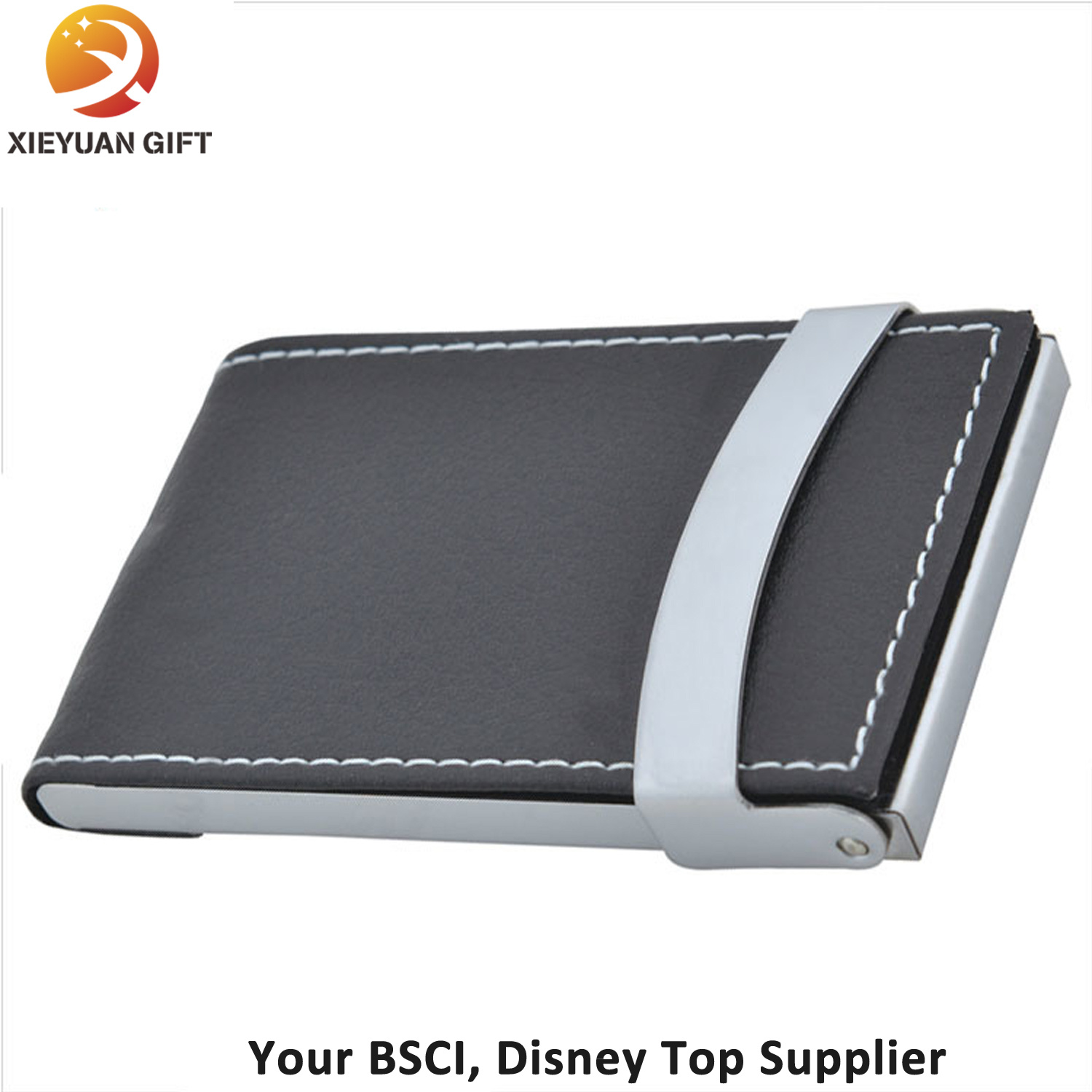 China Fashion Business Card Holder with Black Leather Opened - China ...