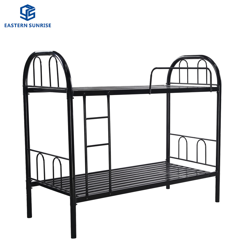 China 2019 Cheap Double Metal Frame Bed School Military Dorm Black Wooden Bunk Bed China Modern Metal Bed Bedroom Furniture