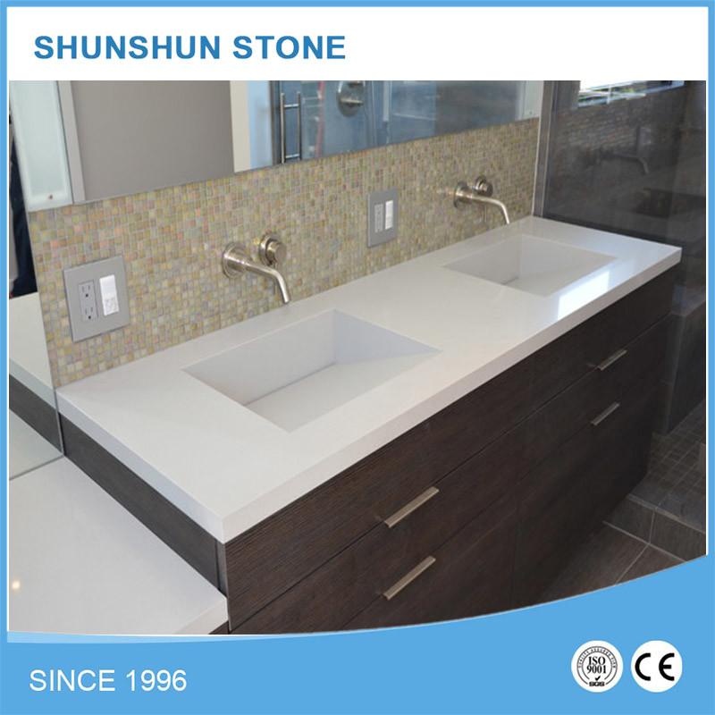 China Super White Quartz Bathroom Vanities With Cabinets