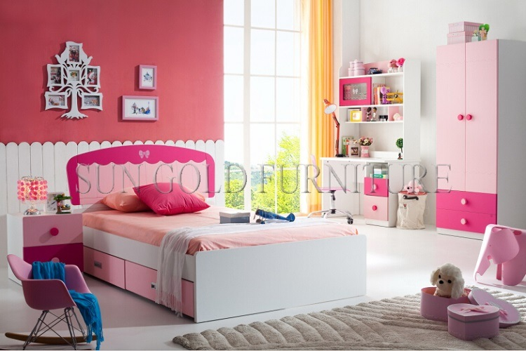 . Hot Item  latest Single Bed Design Pink Girls Fancy Bedroom Set  SZ BF8862