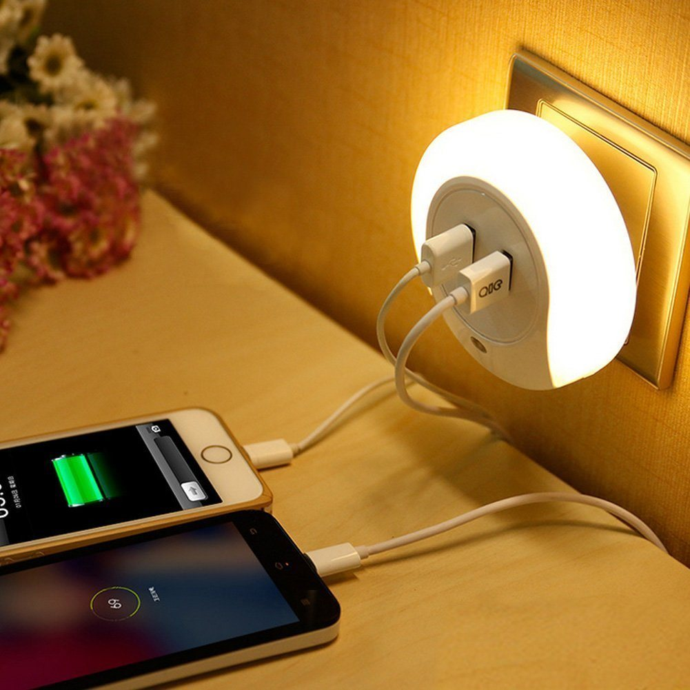 Intelligent LED Night Lamp with Light Sensor and Dual USB Wall Charger