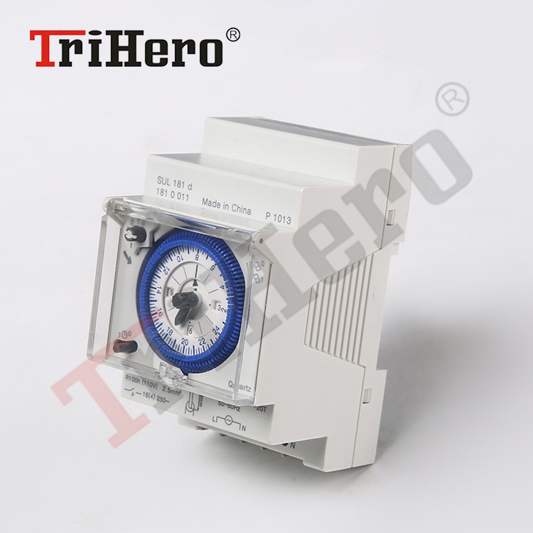 SUL180 DIN Rail Time Switch 24 Hours Programmable Mechanical Timer Switch