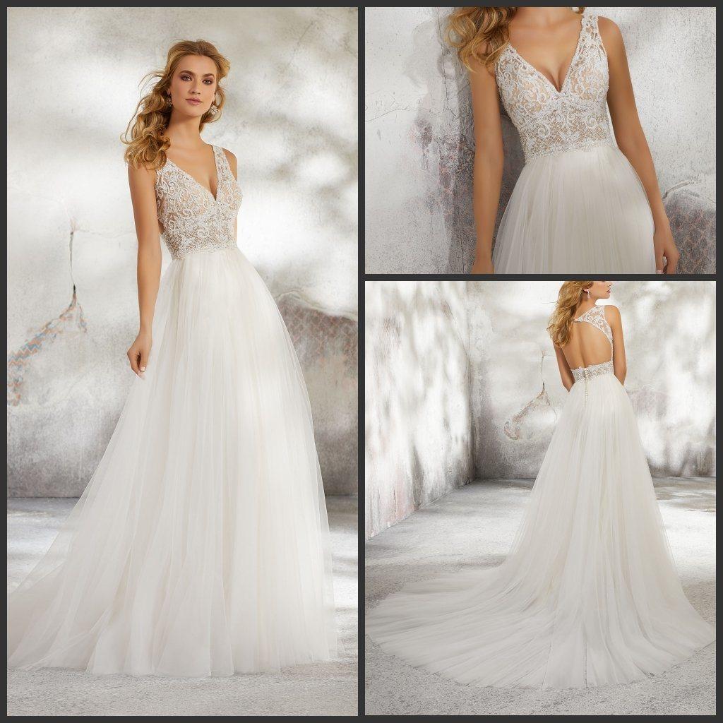 China Beads Wedding Gowns Boho Beach Tulle Wedding Dresses M8284 ...