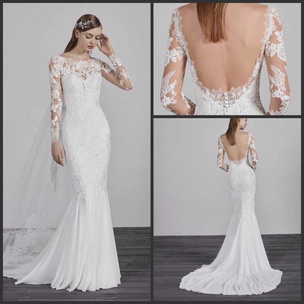 f9fe40d3be China Long Sleeves Boho Wedding Gown Chiffon Lace Bridal Dress Esp2018 -  China Wedding Dress, Wedding Gown