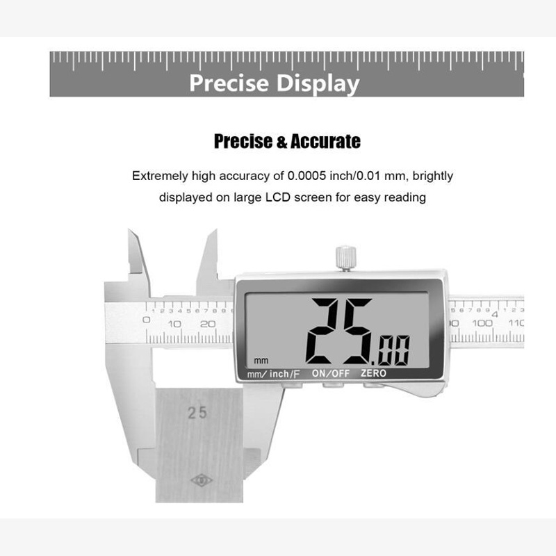 """6/"""" x.0005/""""//150mm x.01mm Electronic Digital Metal Large LCD IP54 Stainles Caliper"""