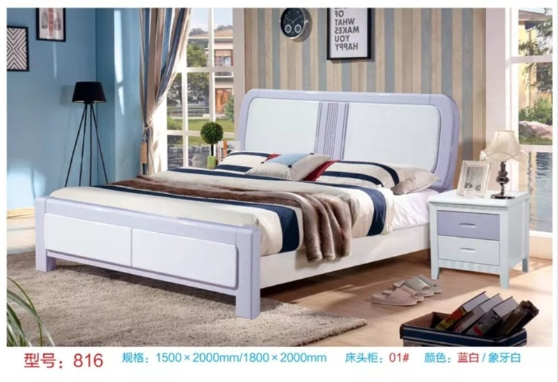 China New Design Bedroom Furniture Kids Queen Pink Frame Bed China Queen Size Bed Solid Wood Bed
