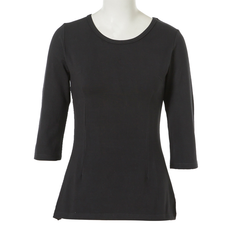 Dropship Women Cotton in Plain Black Round Neck Basic T Shirt