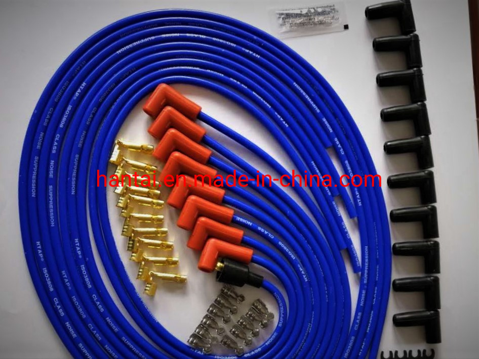 10.5mm Spark Plug Wire Set,9pcs High Performance Spark Plug Cables for SBC BBC HEI 350 383 454 Electronic