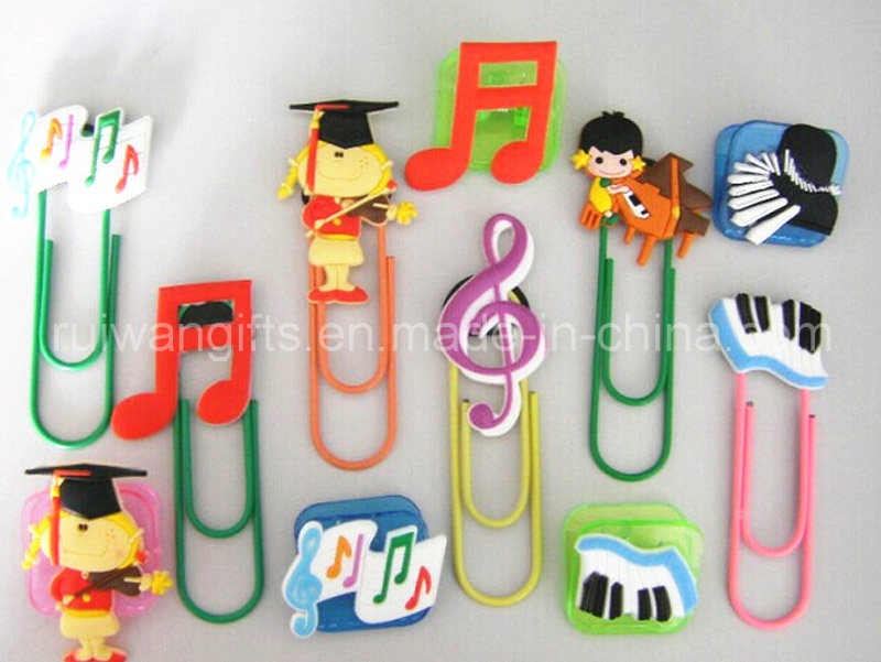 Music Design 3D PVC Rubber Bookmark for Souvenirs