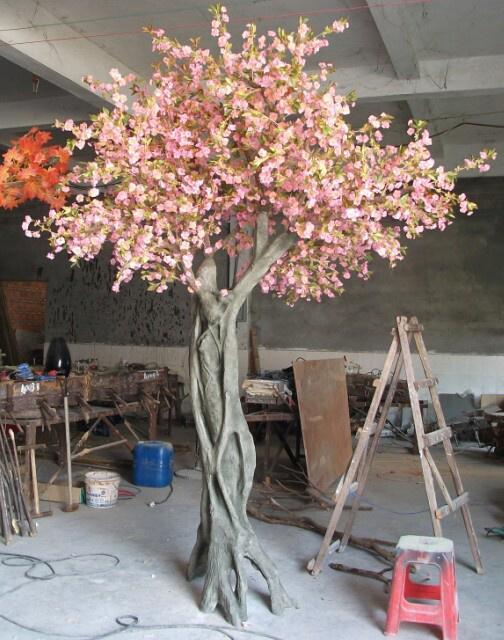 China Home Decor 12f Fiber Glass Artificial Cherry Blossom Tree
