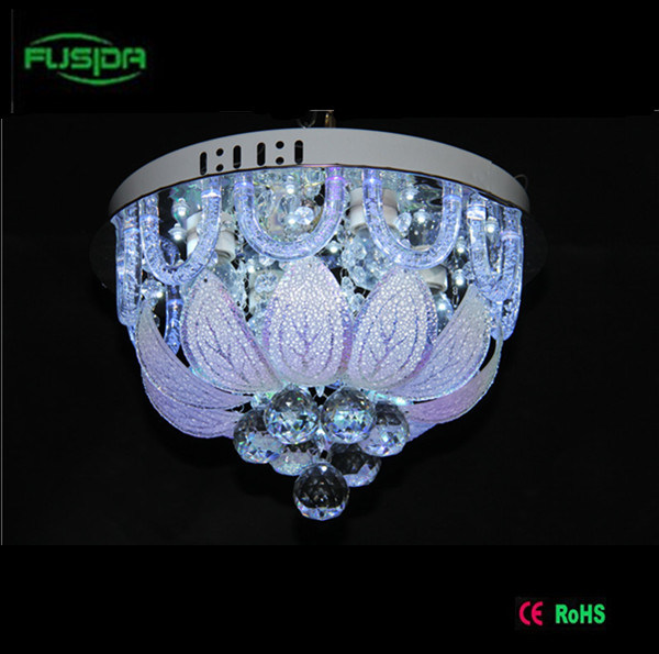 Contemporary Remote Control Crystal Ceiling LED Lamp