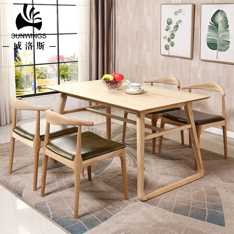 China Spanish Popular Design Dining Room Furniture Solid Wood Dining Table Set 4 Chairs Photos Pictures Made In China Com