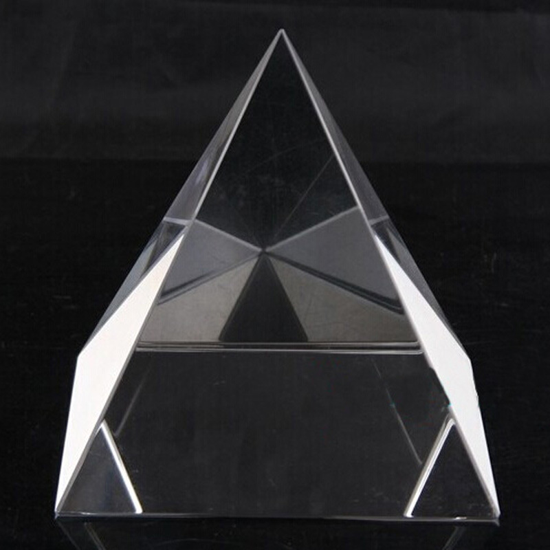 Elegant Clear Quartz Crystal Pyramid Paperweight Glass Pyramid