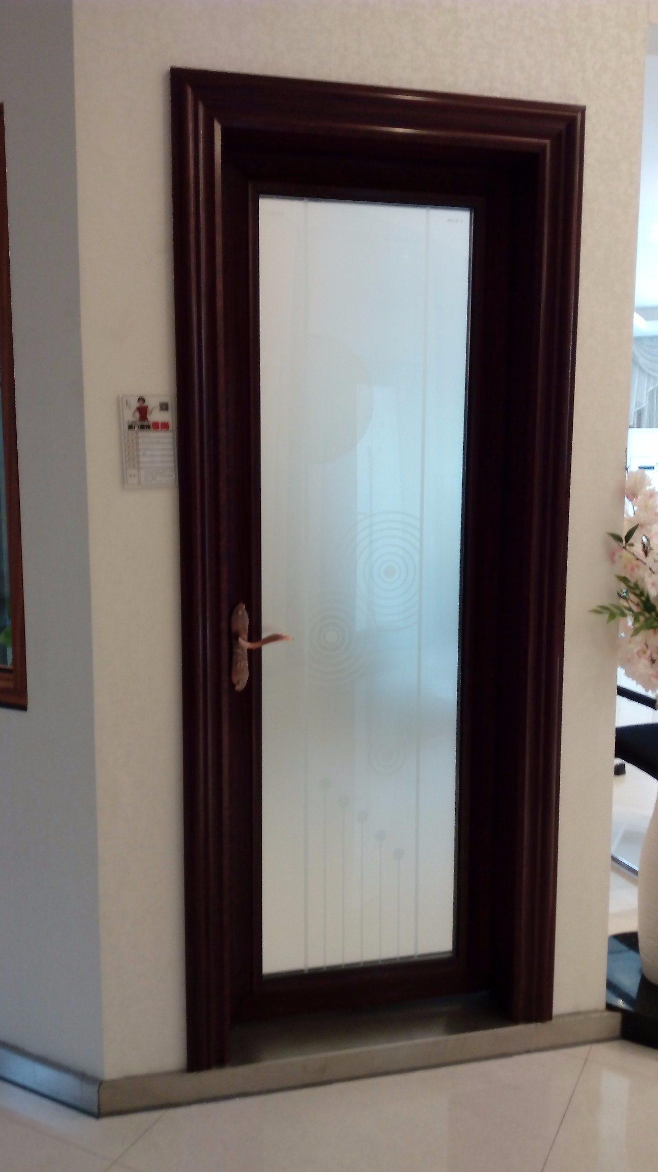 China Aluminium Interior Bathroom Door With Toughened Tempered