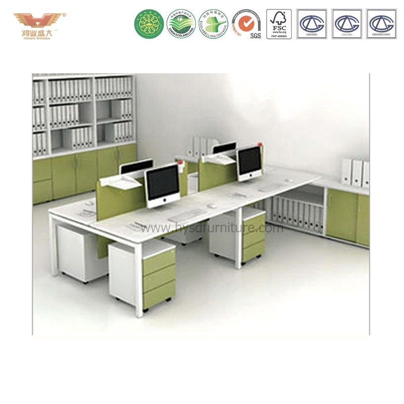 High End Green Wooden Office Cubicles for 4 Staff pictures & photos
