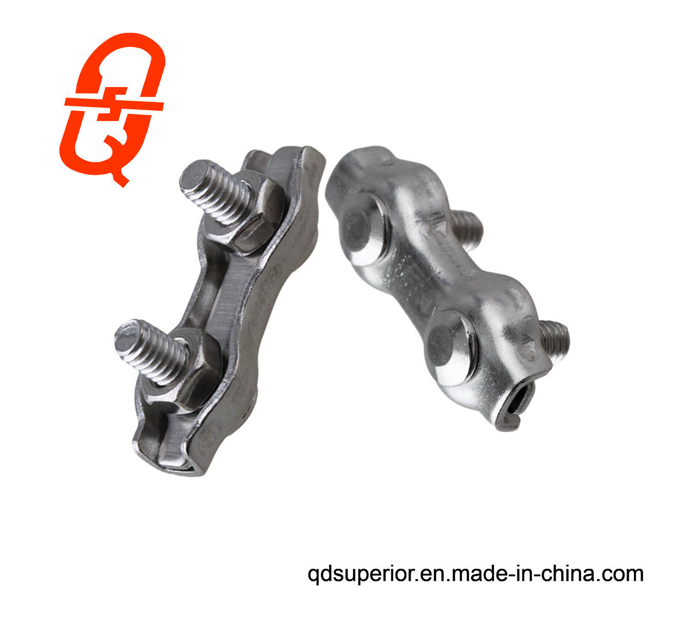 China Stainless Steel Duplex Wire Rope Clip Cable Clamp Double Bolt ...
