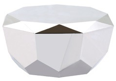 Stainless Steel Coffee Table With Diamond Shape And Mirror Finish