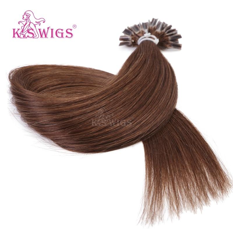 China K S Wigs European Remy Human Hair Extensions Keratin Nail Tip