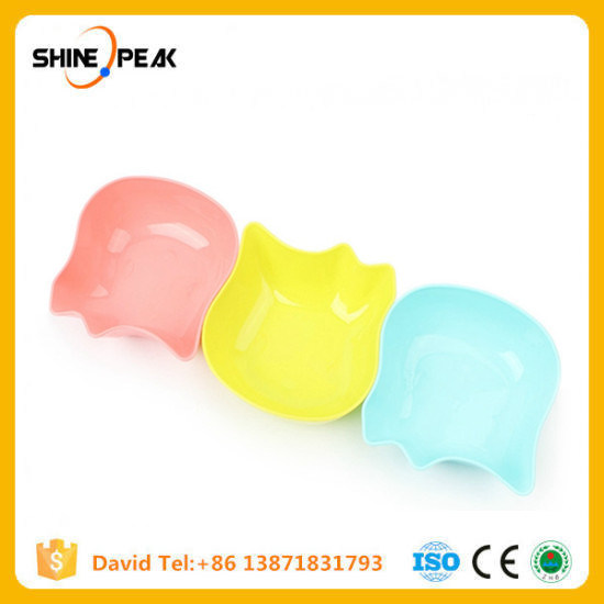 China Plastic Cat Bowl Cute Puppy Dog Food Bowls Candy Color Pet