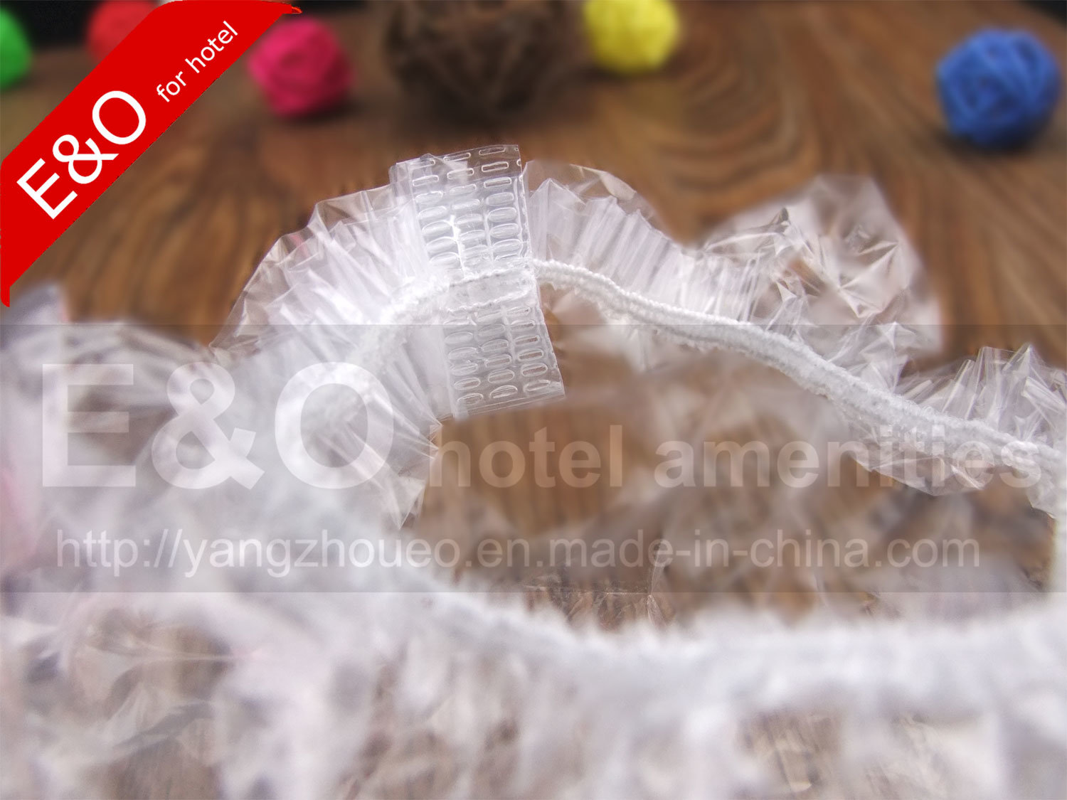 Disposable Hotel Amenities Stripe Shower Cap in Plastic Bag