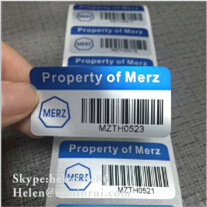 china high quality asset label printed with barcode fixed asset tag
