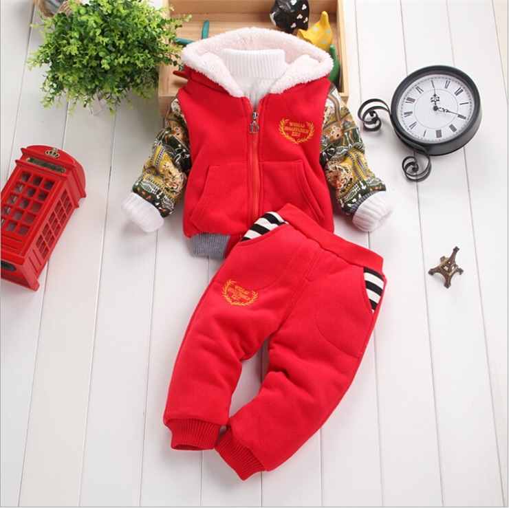 Ks1135 Wholesale-Winter Children′s Clothing Baby Lovely Sets Children Kids Berber Fleece 2PCS Sets Thick Suit Christmas Jacket+Pants