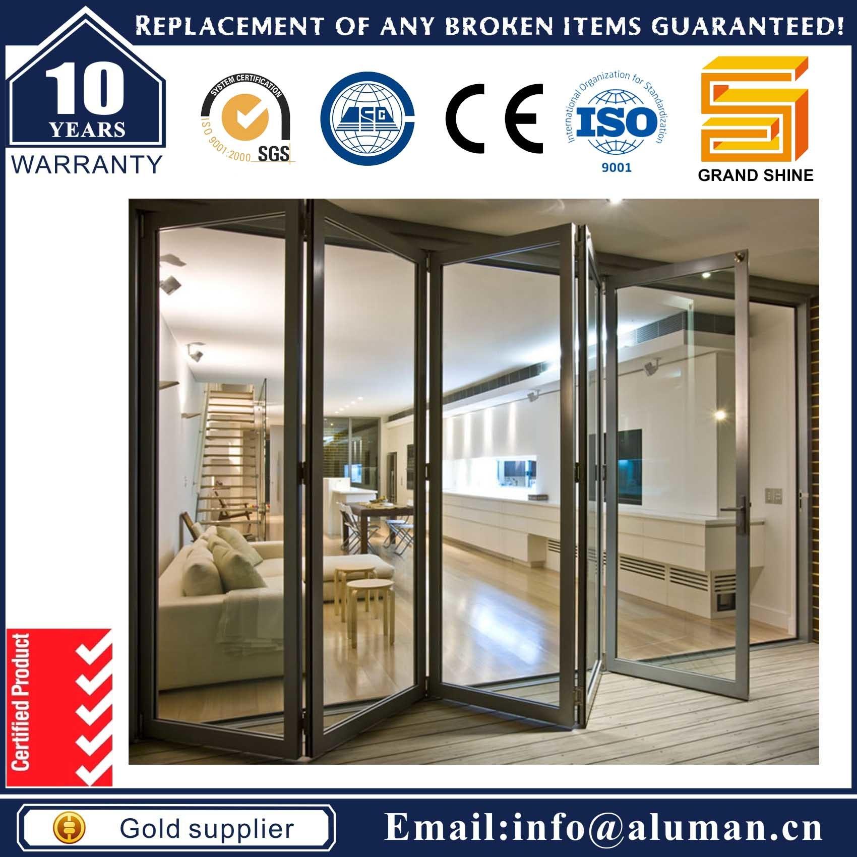China Powder Coated Tinted Glass Aluminium Bi Folding Door With Soundproof And Waterproof Aluminum
