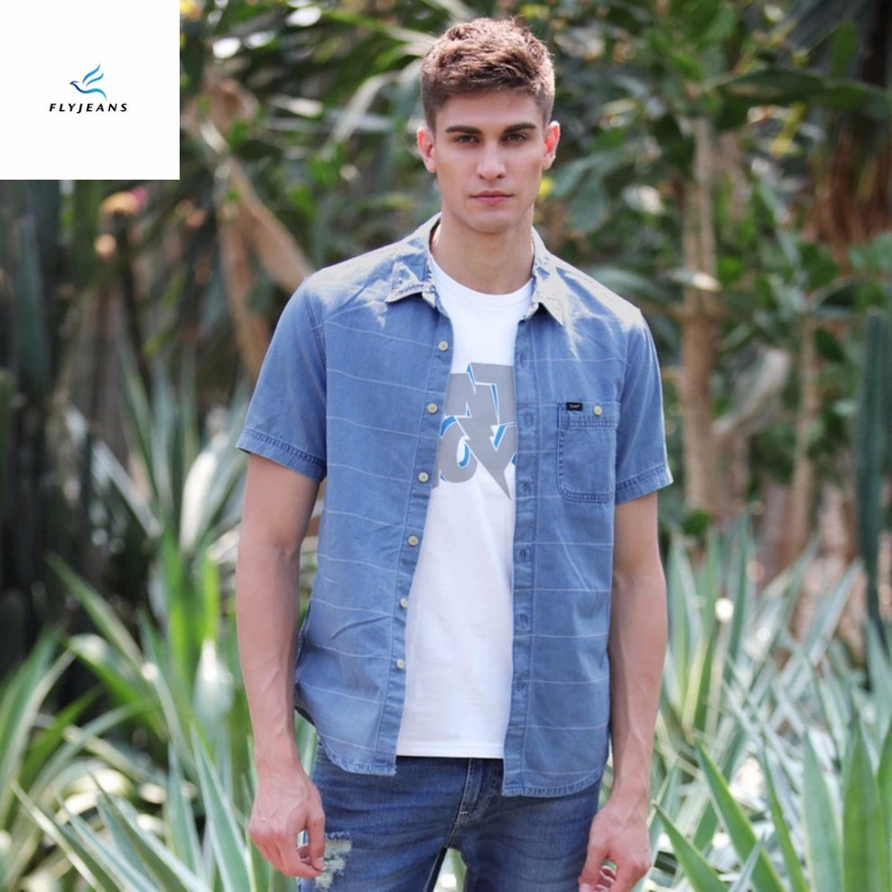 6eef1e2574 New Style Simple Short Sleeves Men Elastic Denim Shirts with Stripe by Fly  Jeans