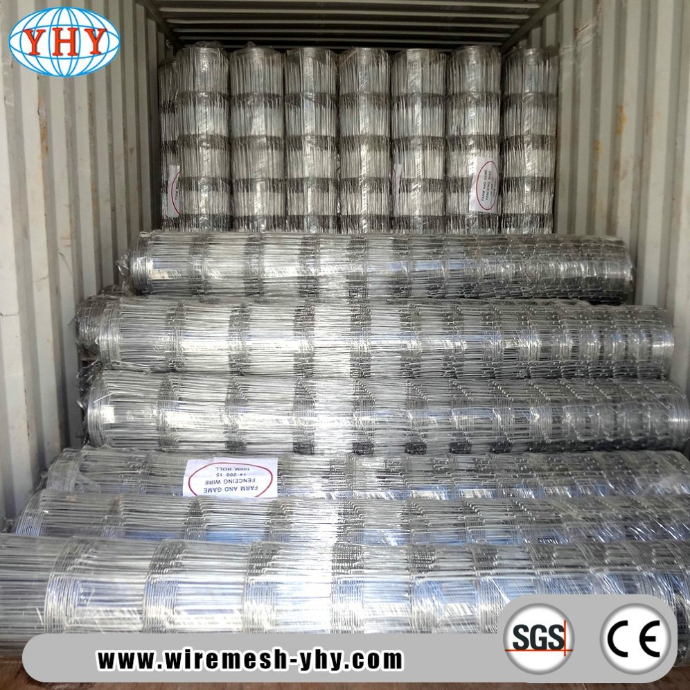 China High Tensile Galvanized 8′ 330FT Hinge Joint Game Farm Fencing ...