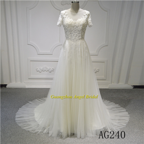 Hot Item Short Sleeve New Design Wedding Princess Backless Bridal Dress