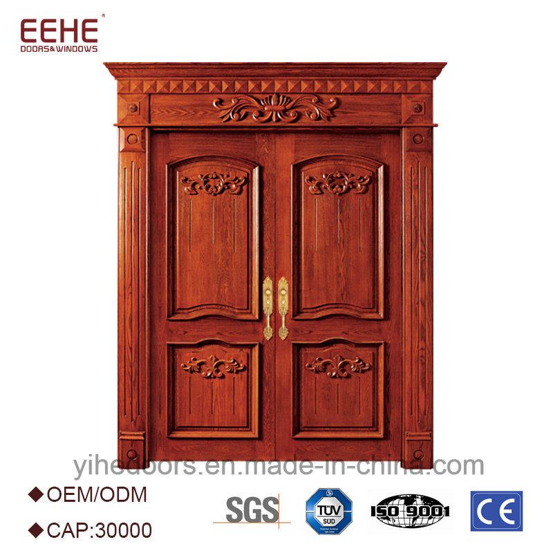China Exterior Entrance Door With Teak Wood Main Designs Double Design