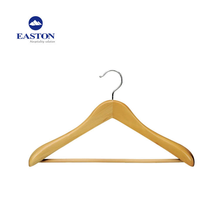 China Natural Wood Hotel Coat Hanger With Anti Slip Rubber Wooden Femal