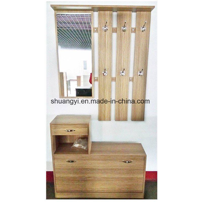 Simple Design Wooden Shoe Cabinet With Coat Rack Mirror