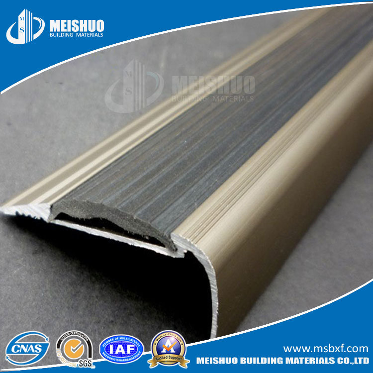 Metal No Slip Rubber Step Nosing For Stair Edging Protection