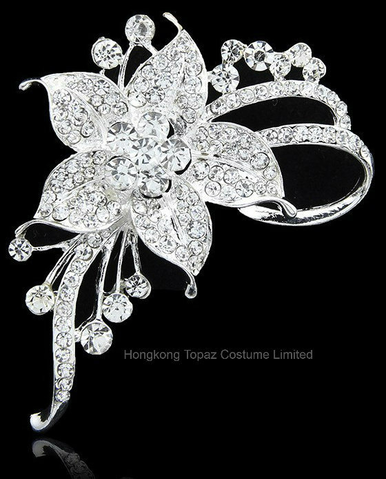 747590e6ab1 Romantic Flower Crystal Brooches for Women Wedding and Party Dress Silver  Rhinestone Brooches Bridal Pins (BR-09)
